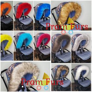Pram Fur Hood Trim Attachment For Pushchair Compatible with Mamas /& Papas
