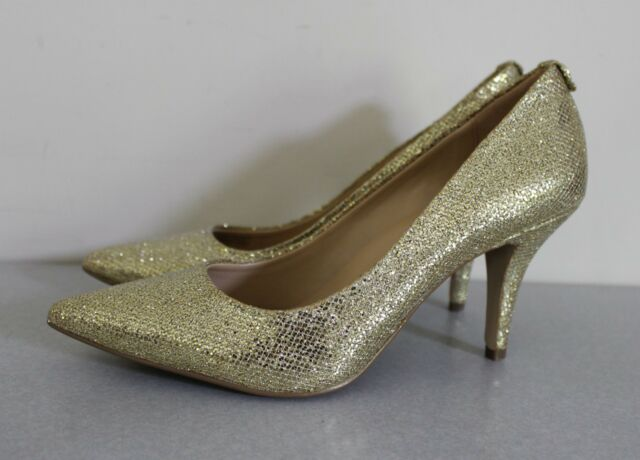 c61718d8916 NEW MICHAEL Kors MK Flex Pointed-Toe Sparkle Sequin Gold Pumps Heels sz 7.5