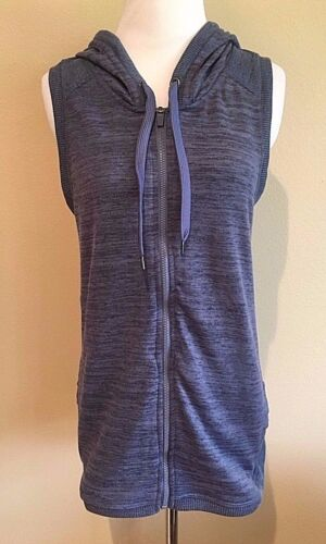 NWT Women/'s Navy Blue Heather Full Zip Active Life Hooded Vest Small