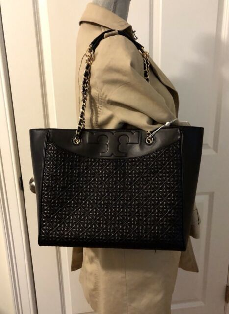 7137006bc8aa Tory Burch Bryant Quilted Leather Tote Shoulder Bag Black   46183 ...
