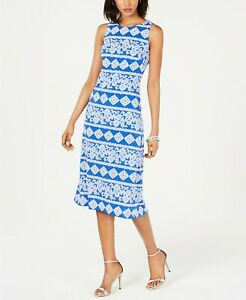 Jessica-Howard-Women-039-s-Geometric-Printed-Midi-Dress-Size-16