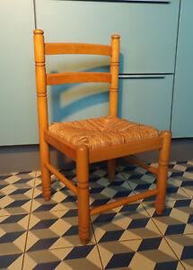 ANCIEN CHAISE ENFANT BOIS Paille DESIGN 50 60 70 Vintage H60cm