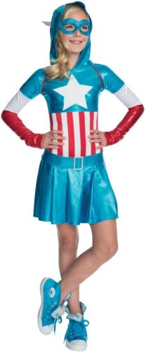 Filles Captain America Super Héros Marvel Book Jour Semaine Fancy Dress Costume Outfit afficher le titre d'origine