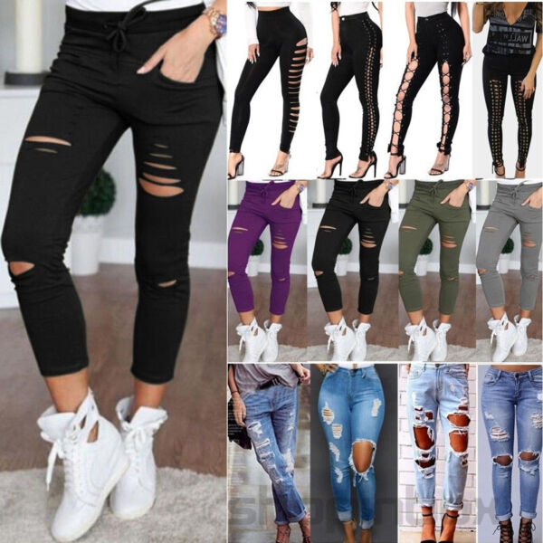 Damen High Waist Treggings Röhrenjeans Skinny Hose Ripped Destroyed Denim Jeans