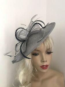 Image is loading Silver-Grey-Navy-Hatinator-Saucer-Hat-Fascinator-Wedding- a69155feb55