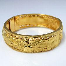 NYJEWEL 24k Solid Gold China Style Dragon and Phoenix Bracelet