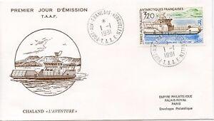 FDC-TERRES-AUSTRALES-ANTARTIQUES-BATEAU-BOAT-CHALAND-L-039-AVANTURE-1991