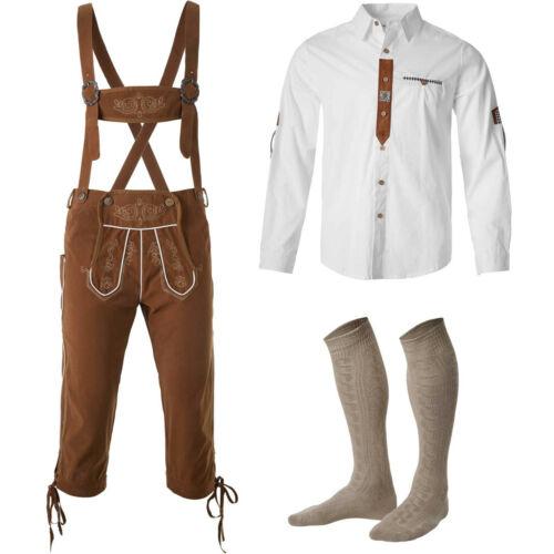 Men 3-Piece Traditional German Clothing Set Brown Lederhosen Shirt Socks Party