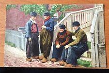 1920's POSTCARD ROTTERDAM HOLLAND 4 DUTCH MEN WOODEN SHOES CLOGS  COLOR