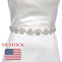 Vintage Rhinestone Wedding Dress Sash Belt Bridal Gown W/ Beaded Party Belt Sash