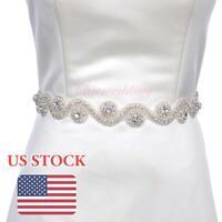 Vintage Rhinestone Wedding Dress Sash Belt Bridal Gown W/ Beaded Party Belt Sash