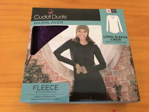 New Cuddl Duds Women/'s Fleece Stretch Long sleeve Crew Top Warm Layer Purple