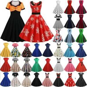Women Ladies 50s Vintage Dress Rockabilly Evening Party Fancy Skater Swing Dress