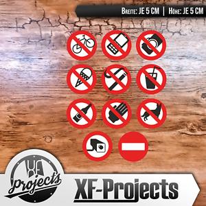 Verbotaufkleber-5x5cm-Warnung-Achtung-Verboten-Aufkleber-Sticker-Set-Paket