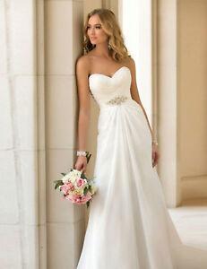 best service ec0be d7cc7 Details zu Brautkleid-Standesamt-Hochzeitskleid A-Linie Braut Kleid Chiffon  weiß 38 BC497