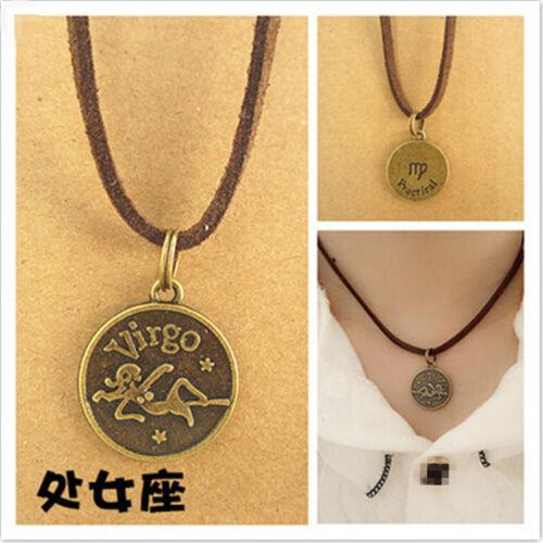 Virgo Charm Leather Choker Necklace Zodiac Sign Pendant Jewelry Birthday Gift