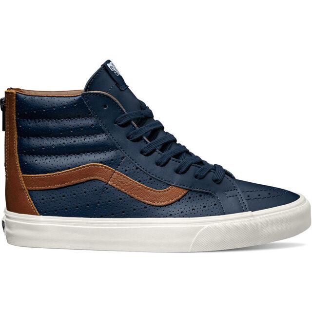 7a8619396b1244 Vans SK8 Hi Reissue Zip Leather Perf Dress Blues Men s Skate Shoes Size 7.5