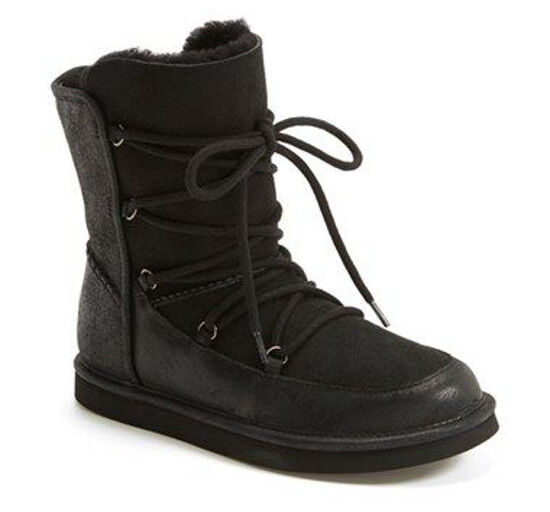 6f3bf3578dc Buy UGG Australia Lodge Black Suede Sheepskin Lace up Winter BOOTS Size 7  online