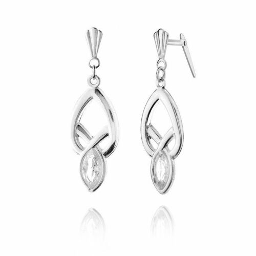 Sterling Silver Andralok Crystal Drop Earrings Gift boxed Made in UK