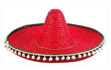 RED COLOR LARGE MEXICAN SOMBRERO STRAW HAT WITH TASSELS mexico headwear new