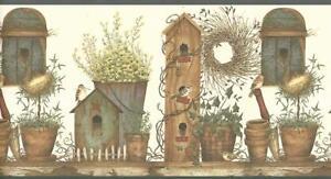 Wallpaper-Border-Designer-Birdhouse-amp-Pottery-Bench-Birds-Blue-Trim