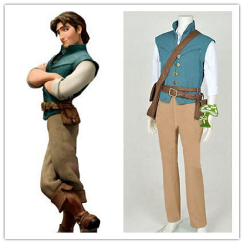 Hot!Tangled Rapunzel Flynn Rider Cosplay Costume Daily Hunting Full Set HH.060
