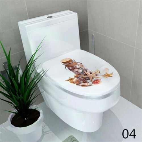Toilet Seat Sticker Art WC Cover Removable Bathroom Decals Decor Home  32*39 cm