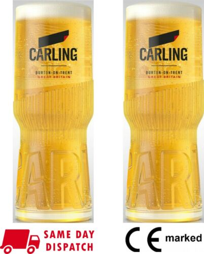 2 x Carling Pint Glasses CE Marked New Design 20oz 100/% Genuine Nucleated