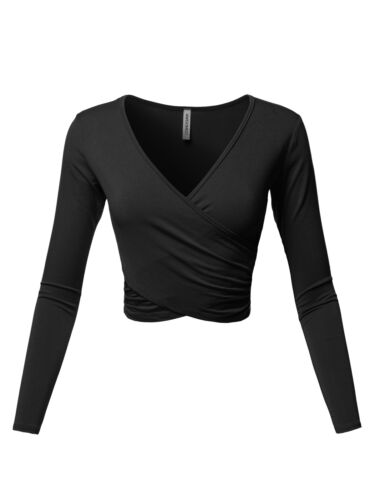 FashionOutfit Women/'s V-Neck Crossover Shirred Wrap Front Long Sleeves Crop Top