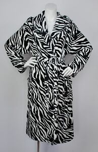 9acc444e43 Image is loading Ladies-Zebra-Print-Hooded-Fleece-Wrapover-Dressing-Gown-