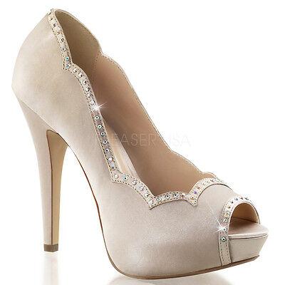 Nude Satin Platform Vintage 1940s Bridal Wedding Heels Pinup Shoes size 7 8 9 10