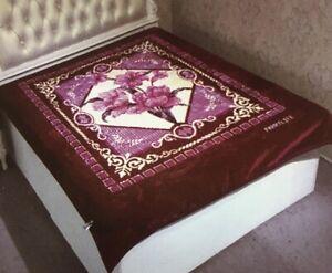 Korean Mink Blanket Queen /& King Size 14Lbs Heavy Thick Warm Plush Soft Burgundy