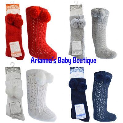 Spanish Style Baby Boy or Baby Girl Knee High Pom Pom Socks by  Soft Touch.