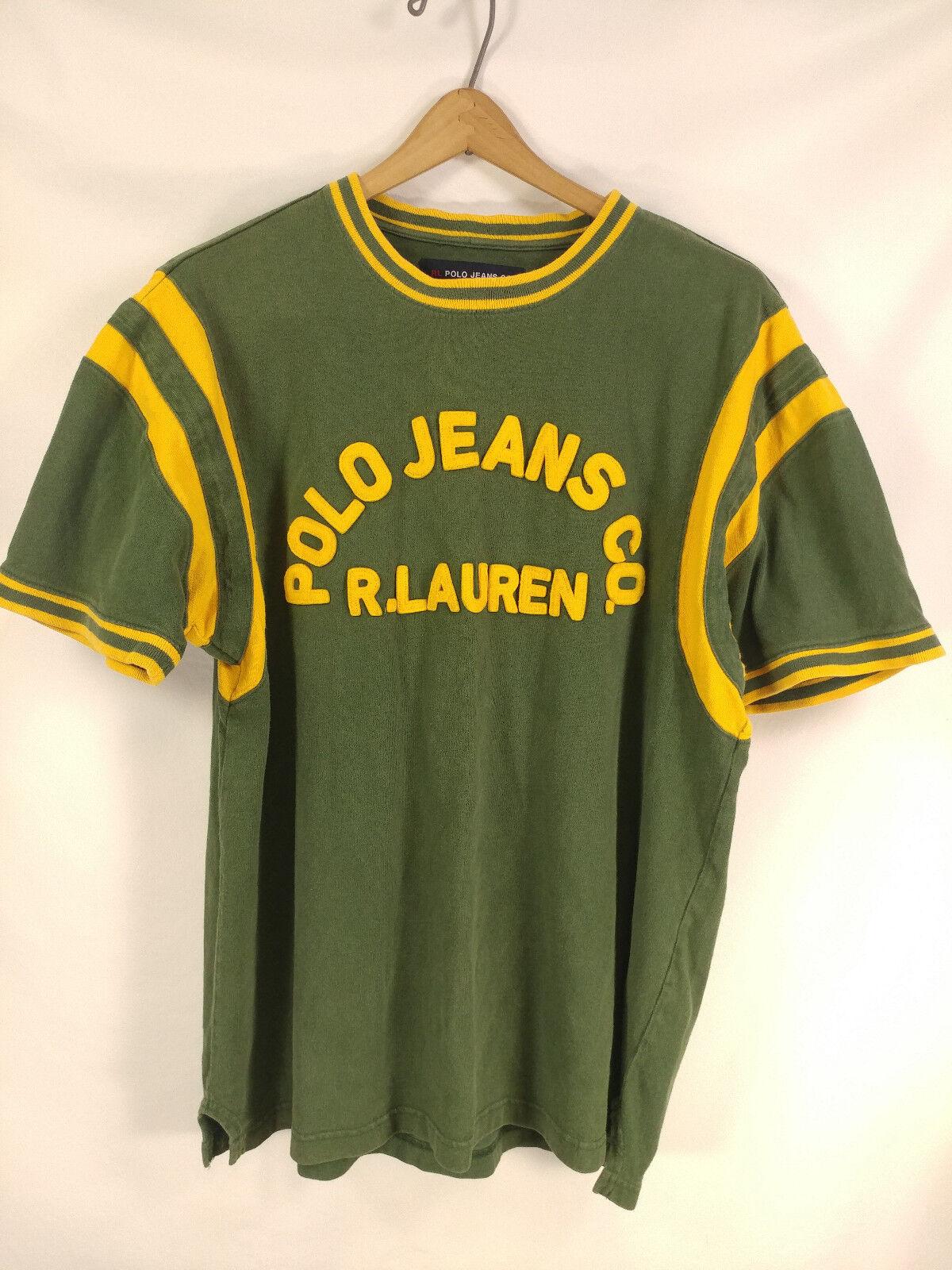 Herren Ralph Lauren Polo Jeans 3d Spellout Grün Gelb Ringer Shirt Large