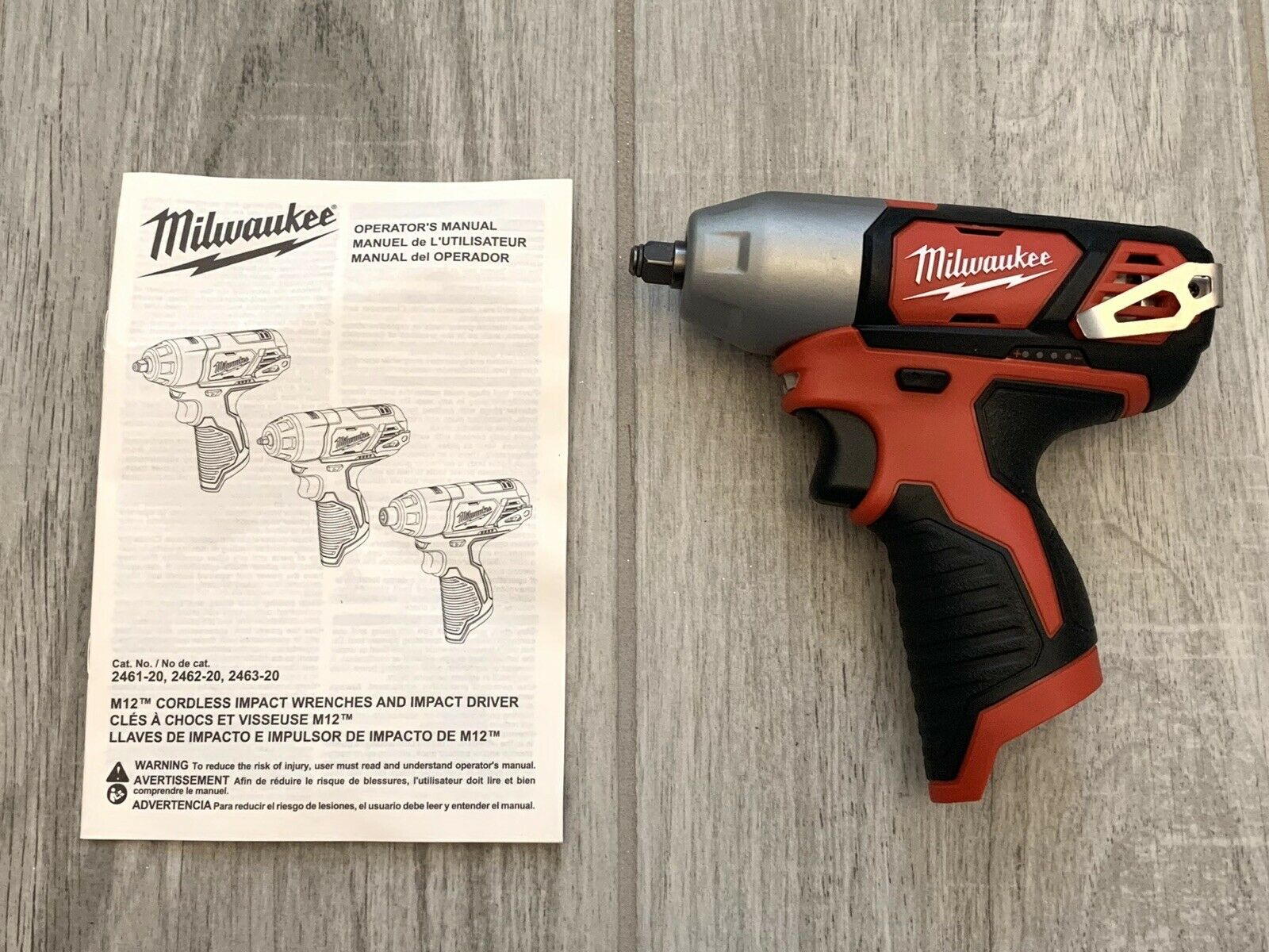 Milwaukee 2461-20 M12 12-Volt 1//4-Inch Impact Wrench w// Belt Clip