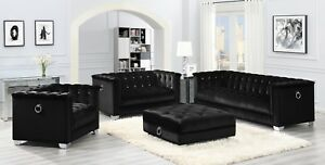 Details about Modern Hollywood Glam Living Room 3-Piece Sofa Loveseat Chair  Set Black Velvet