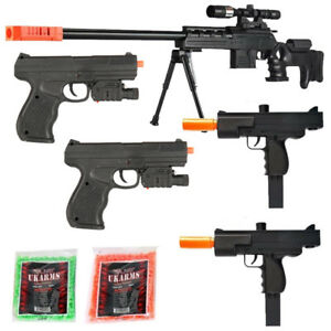 TOY GUN 2 BLACK OPS PACKAGE LOT 4 AIRSOFT SPRING SNIPER RIFLE PISTOL FREE BBS