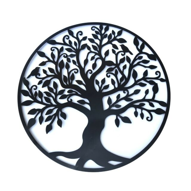 Black Tree of Life Metal Hanging Wall Art 99 cm Round Sculpture Home Garden BIG