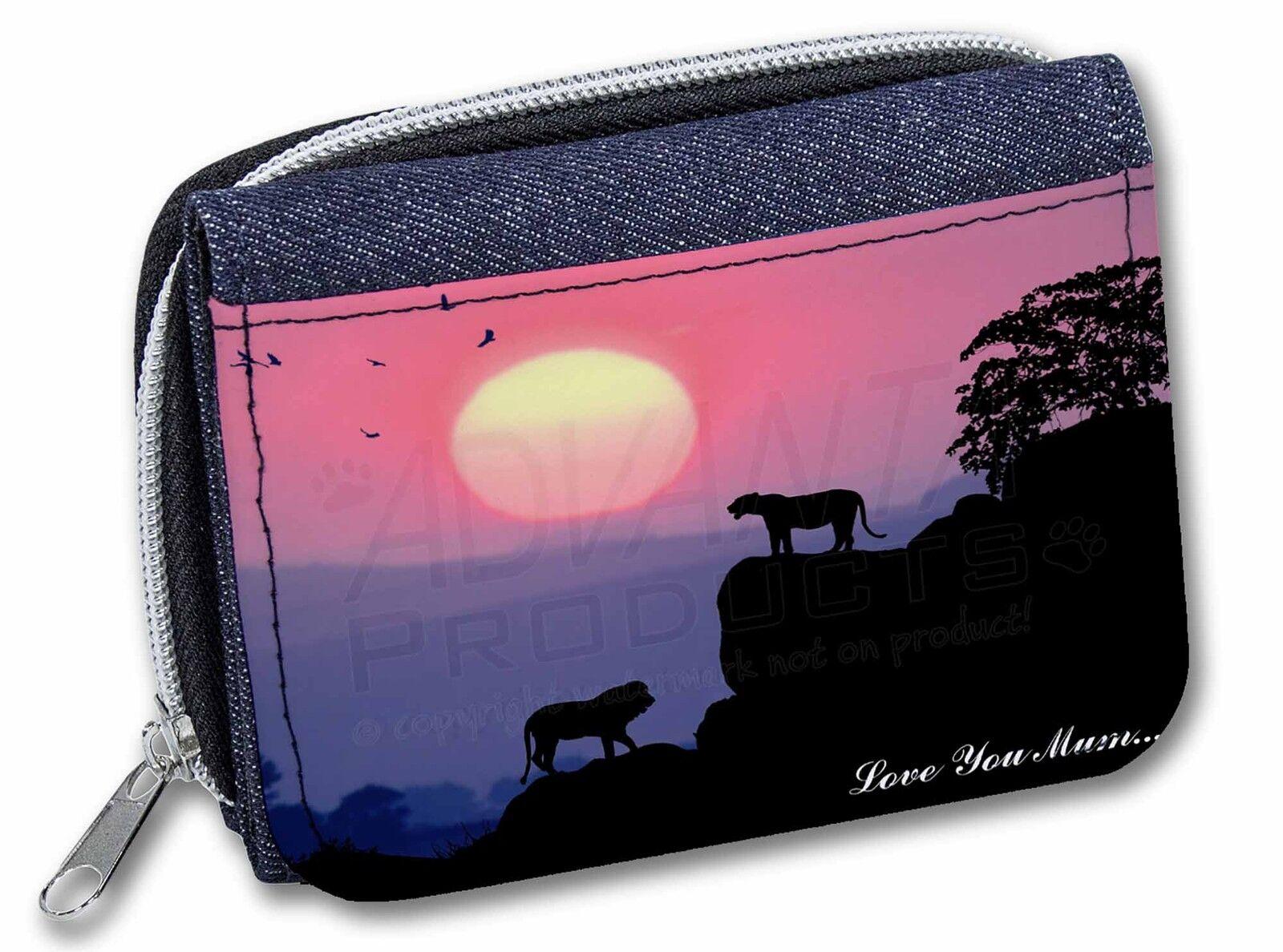 Lions Sunrise 'Love You Mum' Girls/Ladies Denim Purse Wallet Christm, AT-30lymJW