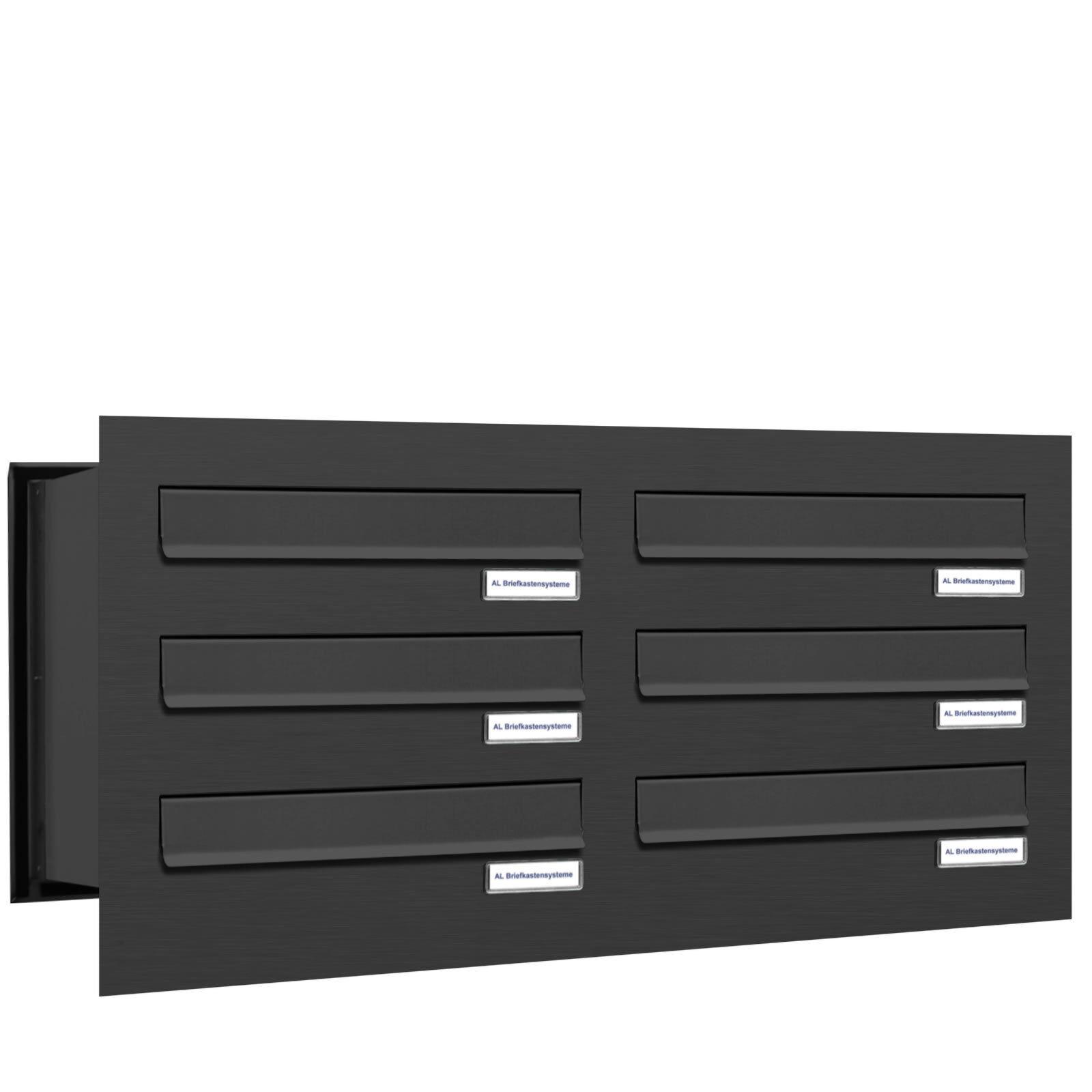 6 er Premium Mauer Durchwurf Briefkasten Postkasten RAL 7016 anthrazit A4 2x3