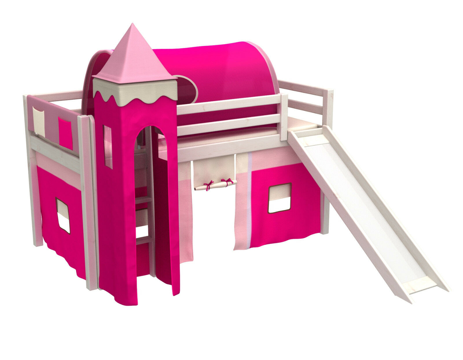 Enfants bed with slide bed with curtains, tower, igloo, mattress, hommey colour