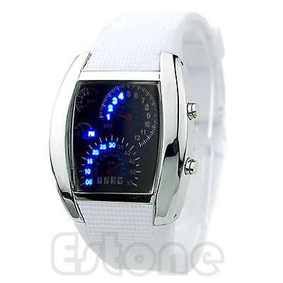 Blue Flash LED Men RPM Turbo Sports Car Meter Dial Watch Wristwatch