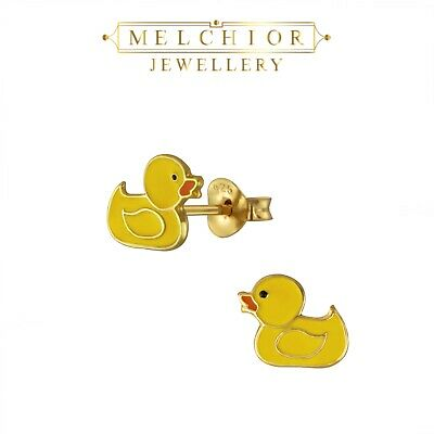 Gift Boxed Girls Childrens Sterling Silver Duck Stud Earrings