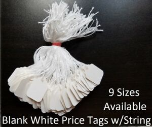 Blank-White-Merchandise-Price-Tags-w-String-Retail-Jewelry-Strung-Large-Small