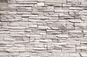 Wei e steinwand steinoptik fototapete wandbild steine wanddeko 140cm x 100cm ebay - Wanddeko steinwand ...