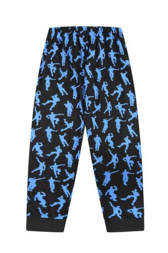 Emote Legend Dance Gaming Black Blue Cotton Long Pyjamas