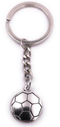 Fussball flach Schlüsselanhänger Anhänger Silber aus Metall