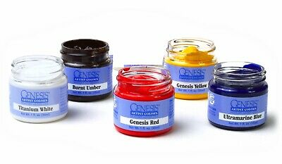 Genesis Heat Set Paints Set of 5 Basic Colors for Reborn Doll Making 1//2 oz