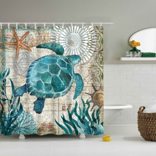 Sea Turtle Waterproof Shower Curtains Bathroom Curtain Ocean Theme Bath Curtains