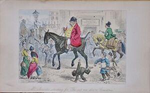 Fox Hunt Steel Engraving~handley Cross Or Mr Jorrocks's Hunt Art Drawings 1854 ~hand Painted